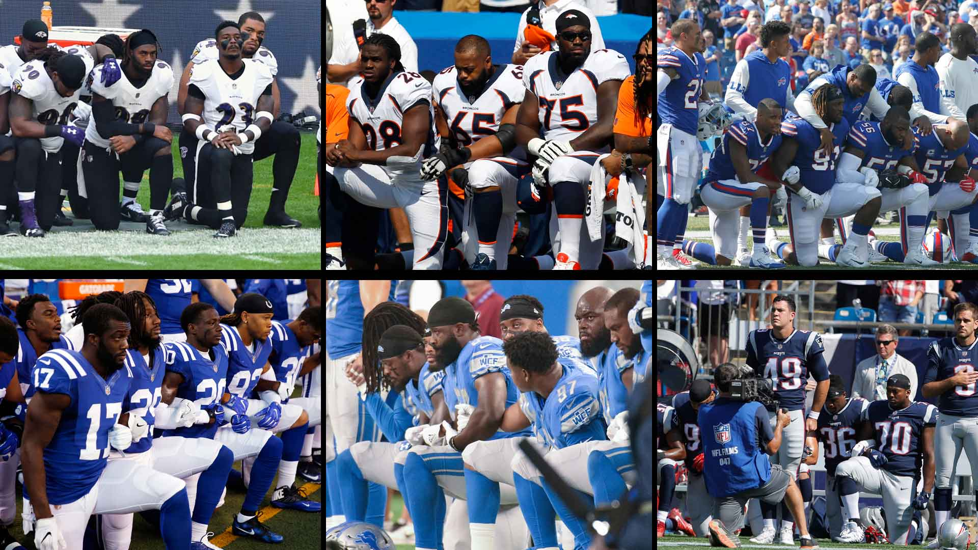 NFL player protests sweep league after President Donald Trump's remarks
